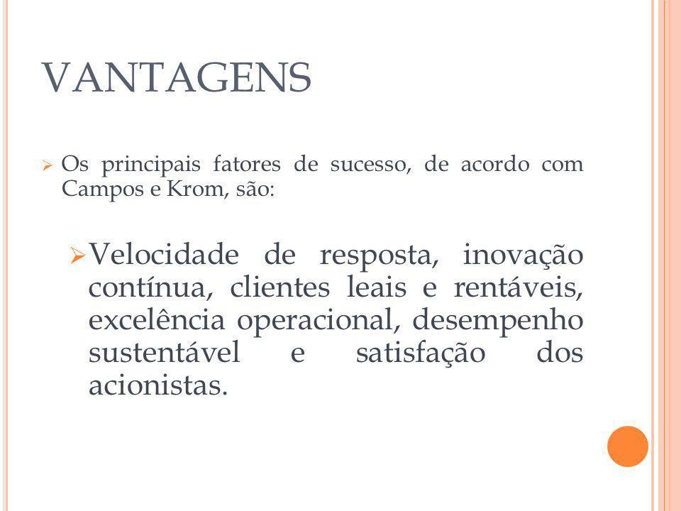 VANTAGENS Os principais fatores de sucesso, de acordo com Campos e Krom, são: Velocidade de resposta, inovação contínua, clientes leais e rentáveis, e