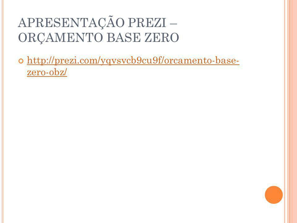 APRESENTAÇÃO PREZI – ORÇAMENTO BASE ZERO http://prezi.com/yqvsvcb9cu9f/orcamento-base- zero-obz/ http://prezi.com/yqvsvcb9cu9f/orcamento-base- zero-ob