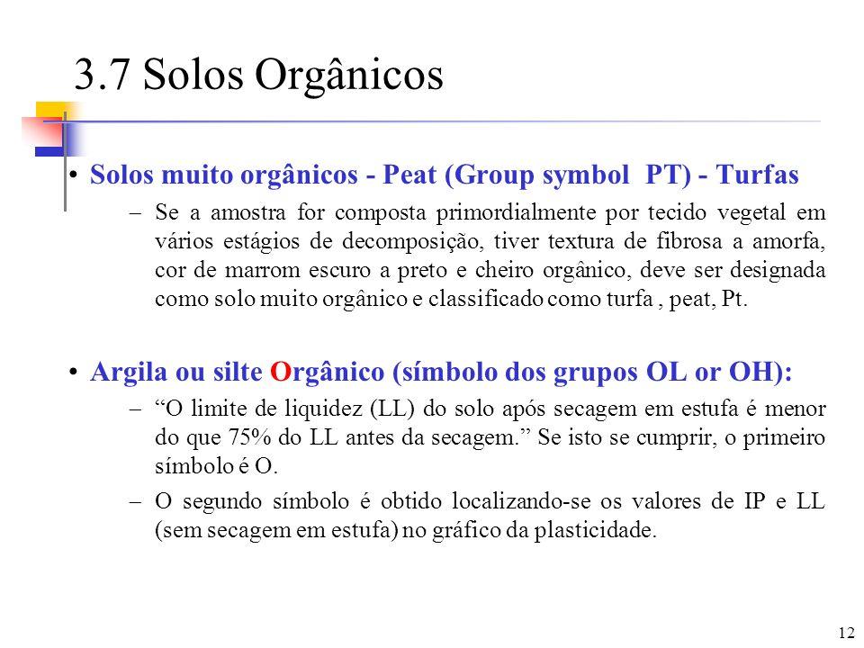 12 3.7 Solos Orgânicos Solos muito orgânicos - Peat (Group symbol PT) - Turfas Se a amostra for composta primordialmente por tecido vegetal em vários