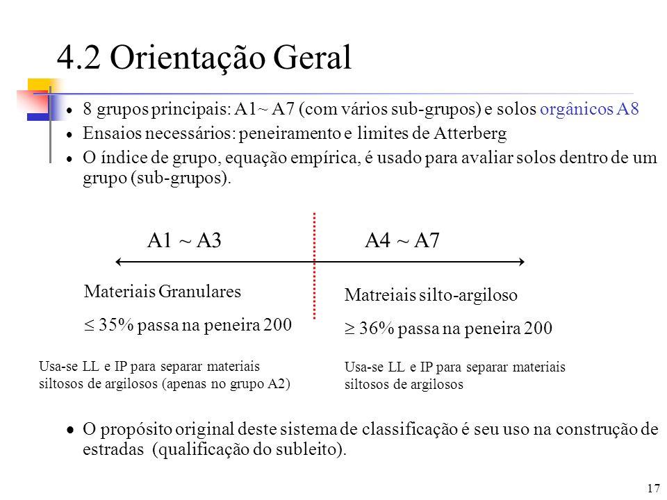 17 4.2 Orientação Geral 8 grupos principais: A1~ A7 (com vários sub-grupos) e solos orgânicos A8 Ensaios necessários: peneiramento e limites de Atterb