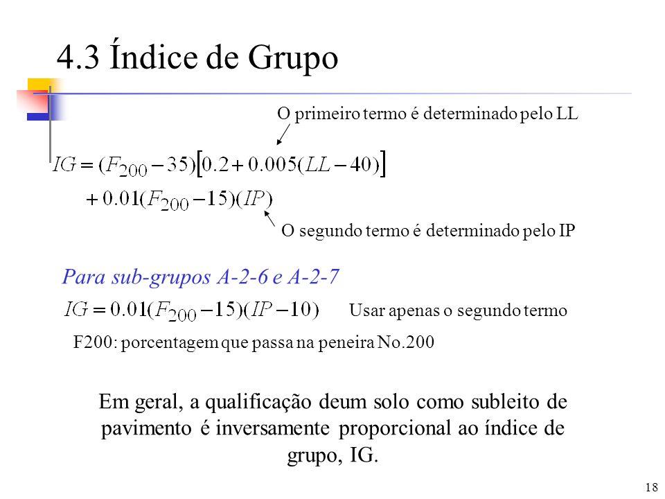 18 4.3 Índice de Grupo Para sub-grupos A-2-6 e A-2-7 O primeiro termo é determinado pelo LL O segundo termo é determinado pelo IP Em geral, a qualific