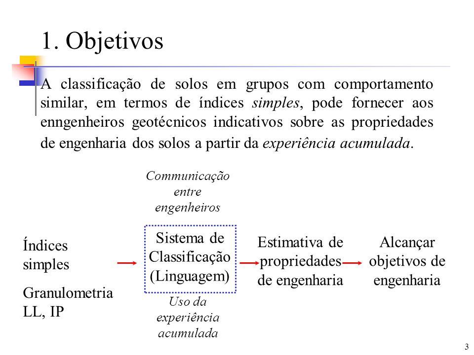 3 1. Objetivos A classificação de solos em grupos com comportamento similar, em termos de índices simples, pode fornecer aos enngenheiros geotécnicos