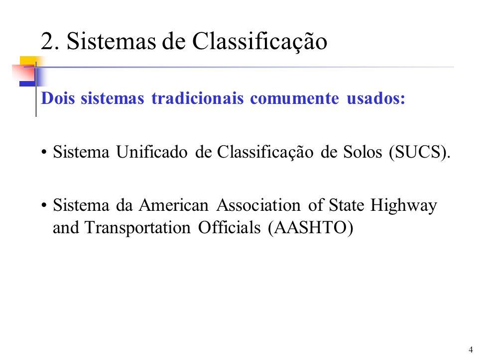 4 2. Sistemas de Classificação Dois sistemas tradicionais comumente usados: Sistema Unificado de Classificação de Solos (SUCS). Sistema da American As