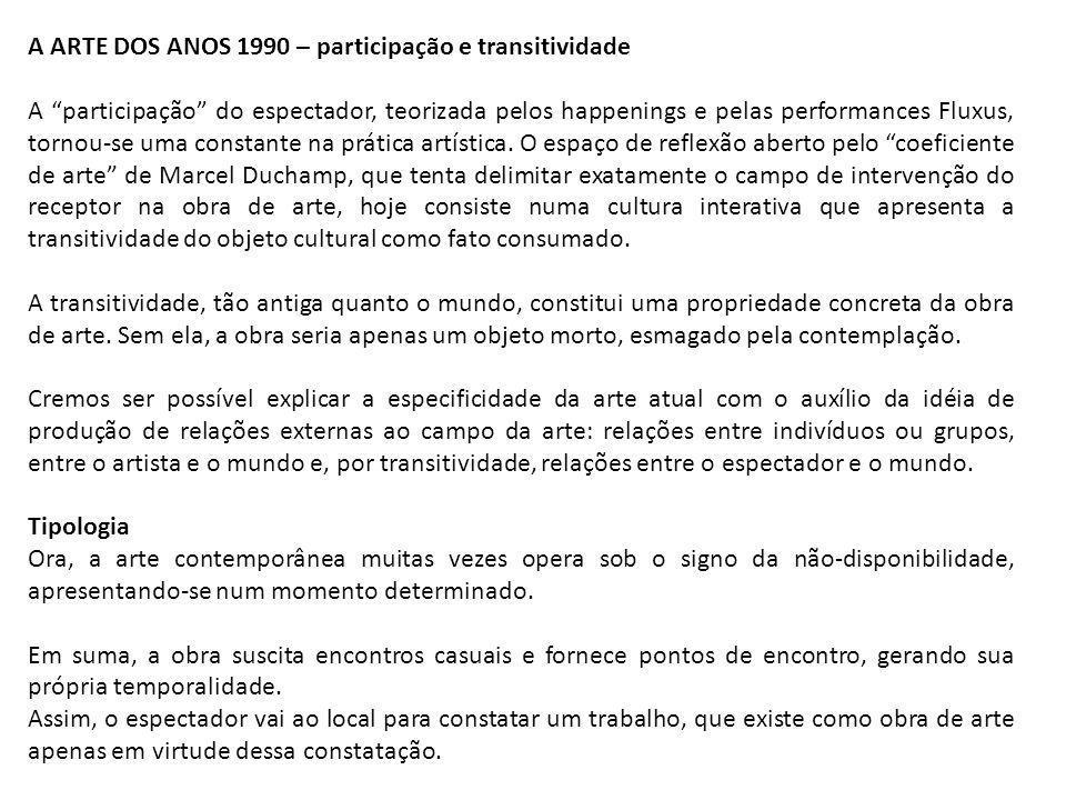 A ARTE DOS ANOS 1990 – participação e transitividade A participação do espectador, teorizada pelos happenings e pelas performances Fluxus, tornou-se u