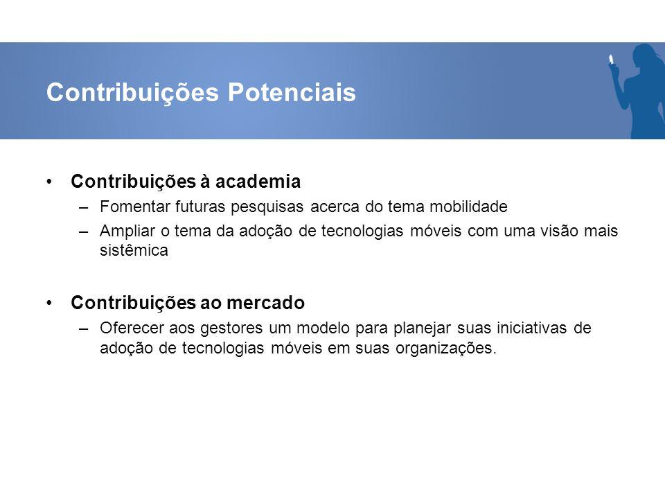 Contribuições Potenciais Contribuições à academia –Fomentar futuras pesquisas acerca do tema mobilidade –Ampliar o tema da adoção de tecnologias móvei