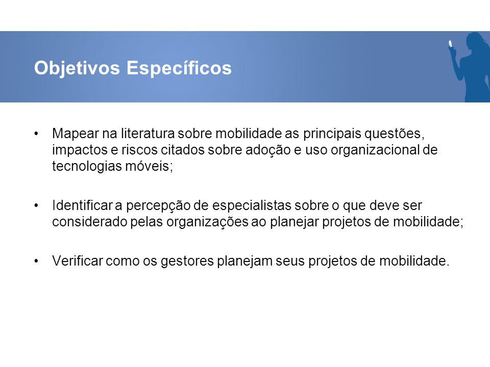 Objetivos Específicos Mapear na literatura sobre mobilidade as principais questões, impactos e riscos citados sobre adoção e uso organizacional de tec
