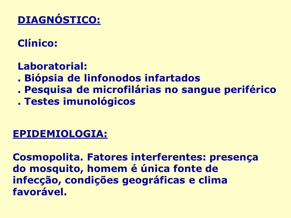 DIAGNÓSTICO: Clínico: Laboratorial:. Biópsia de linfonodos infartados. Pesquisa de microfilárias no sangue periférico. Testes imunológicos EPIDEMIOLOG