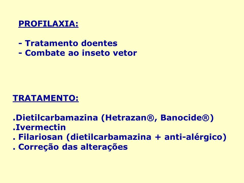 PROFILAXIA: - Tratamento doentes - Combate ao inseto vetor TRATAMENTO:.Dietilcarbamazina (Hetrazan®, Banocide®).Ivermectin. Filariosan (dietilcarbamaz