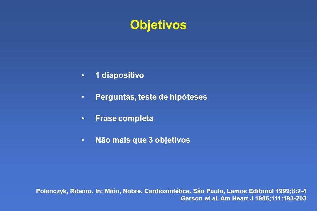 Objetivos 1 diapositivo Perguntas, teste de hipóteses Frase completa Não mais que 3 objetivos Polanczyk, Ribeiro.