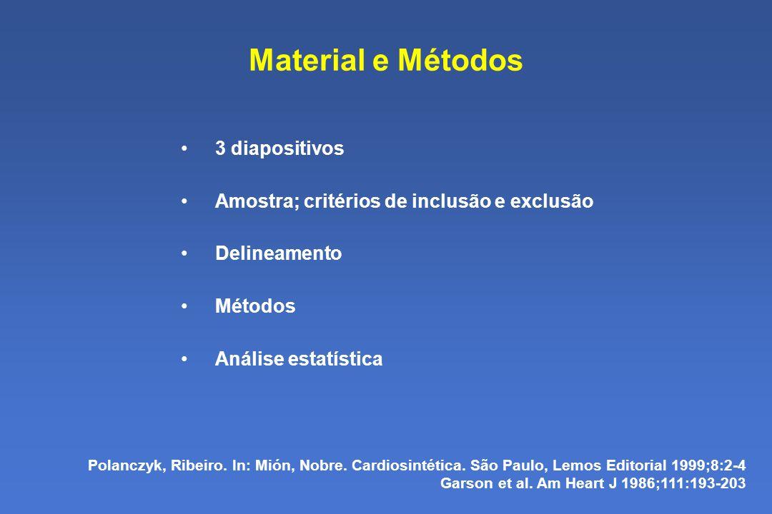 Material e Métodos 3 diapositivos Amostra; critérios de inclusão e exclusão Delineamento Métodos Análise estatística Polanczyk, Ribeiro.