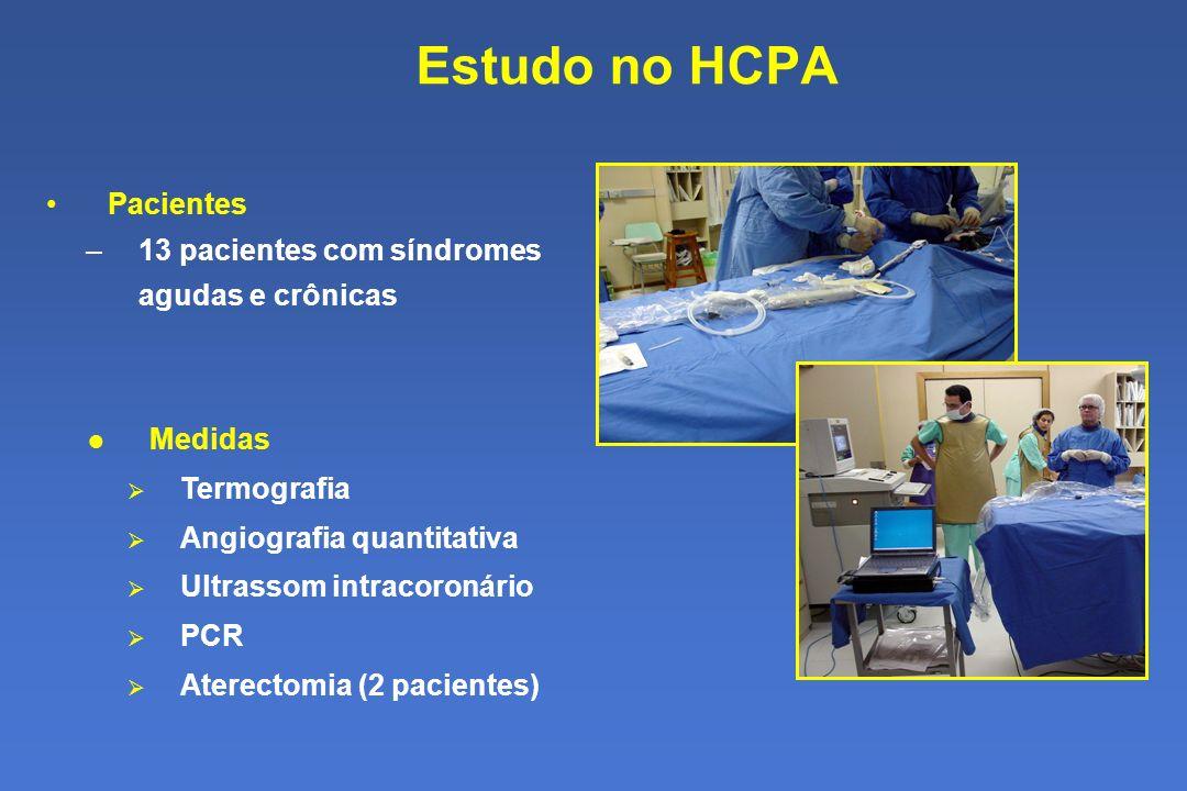 Estudo no HCPA Pacientes –13 pacientes com síndromes agudas e crônicas Medidas Termografia Angiografia quantitativa Ultrassom intracoronário PCR Aterectomia (2 pacientes)