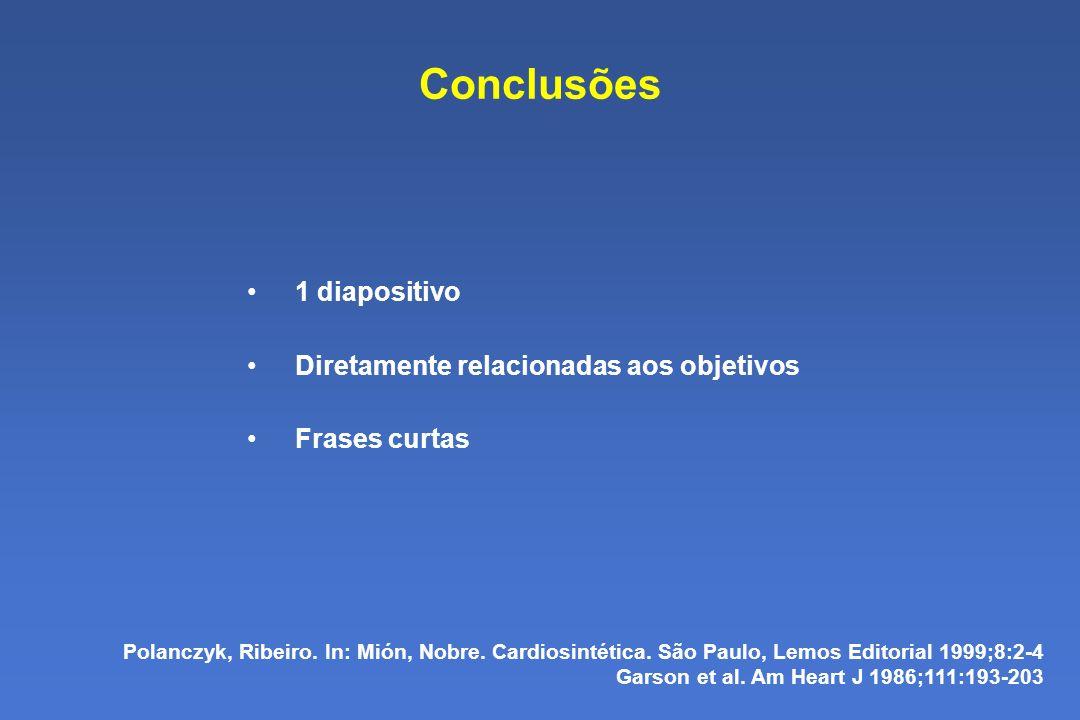 Conclusões 1 diapositivo Diretamente relacionadas aos objetivos Frases curtas Polanczyk, Ribeiro.