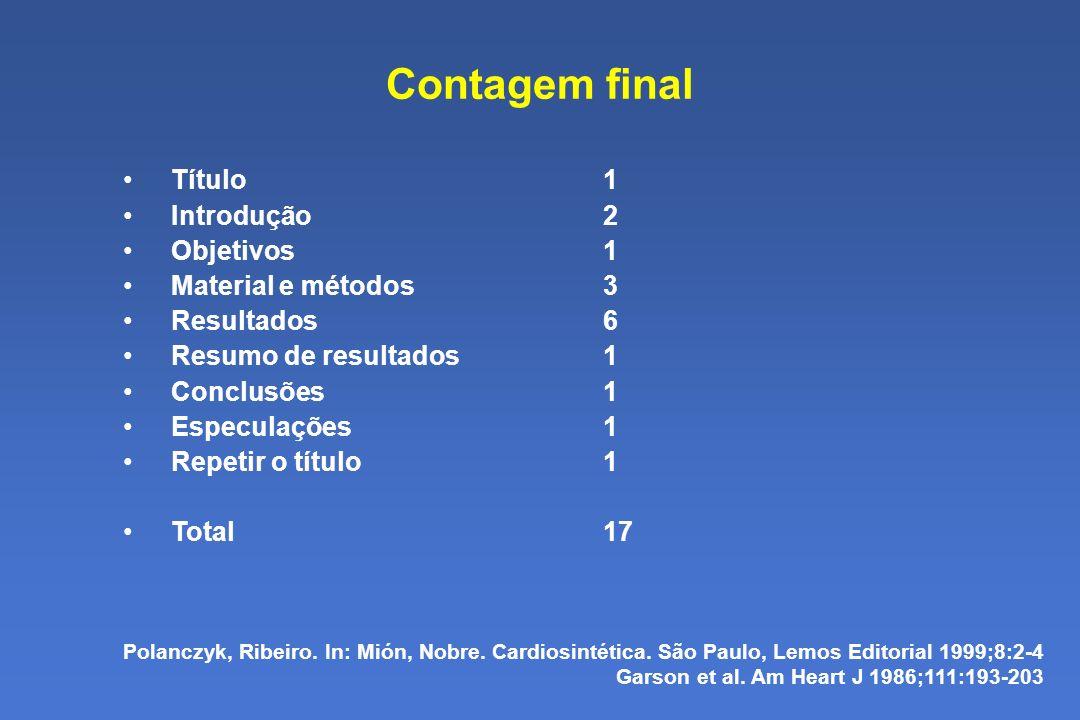 Contagem final Título1 Introdução2 Objetivos1 Material e métodos3 Resultados6 Resumo de resultados1 Conclusões1 Especulações1 Repetir o título1 Total17 Polanczyk, Ribeiro.