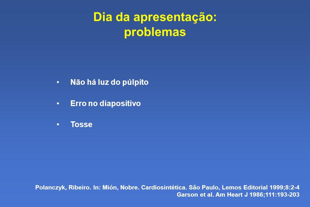 Dia da apresentação: problemas Não há luz do púlpito Erro no diapositivo Tosse Polanczyk, Ribeiro.