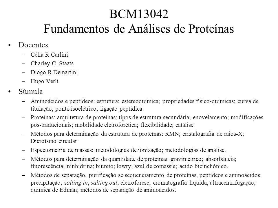BCM13042 Fundamentos de Análises de Proteínas Docentes –Célia R Carlini –Charley C.