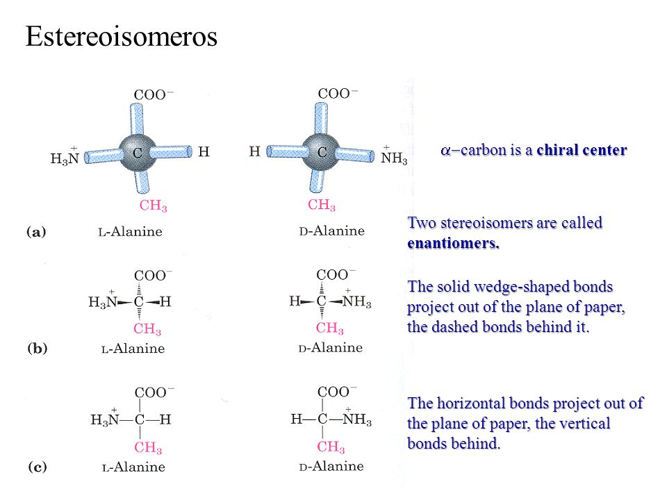 carbon is a chiral center carbon is a chiral center Two stereoisomers are called enantiomers. The solid wedge-shaped bonds project out of the plane of