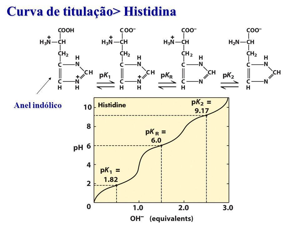Curva de titulação> Histidina Anel indólico