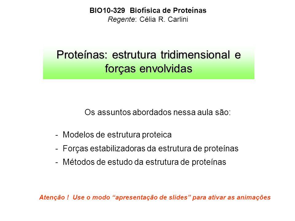 Proteínas: estrutura tridimensional e forças envolvidas BIO10-329 Biofísica de Proteínas Regente: Célia R. Carlini Atenção ! Use o modo apresentação d