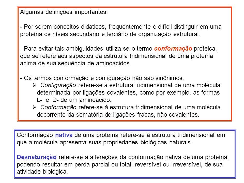 Algumas definições importantes: - Por serem conceitos didáticos, frequentemente é difícil distinguir em uma proteína os níveis secundário e terciário
