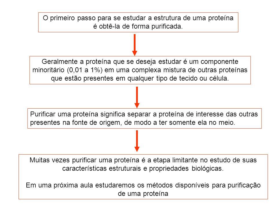 O primeiro passo para se estudar a estrutura de uma proteína é obtê-la de forma purificada. Geralmente a proteína que se deseja estudar é um component