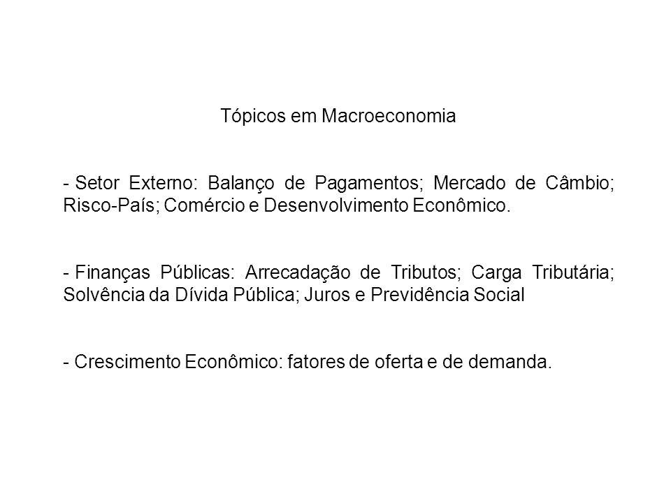 Tópicos em Macroeconomia - Setor Externo: Balanço de Pagamentos; Mercado de Câmbio; Risco-País; Comércio e Desenvolvimento Econômico. - Finanças Públi