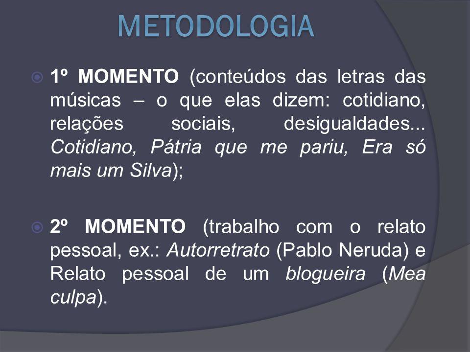 1º MOMENTO (conteúdos das letras das músicas – o que elas dizem: cotidiano, relações sociais, desigualdades...