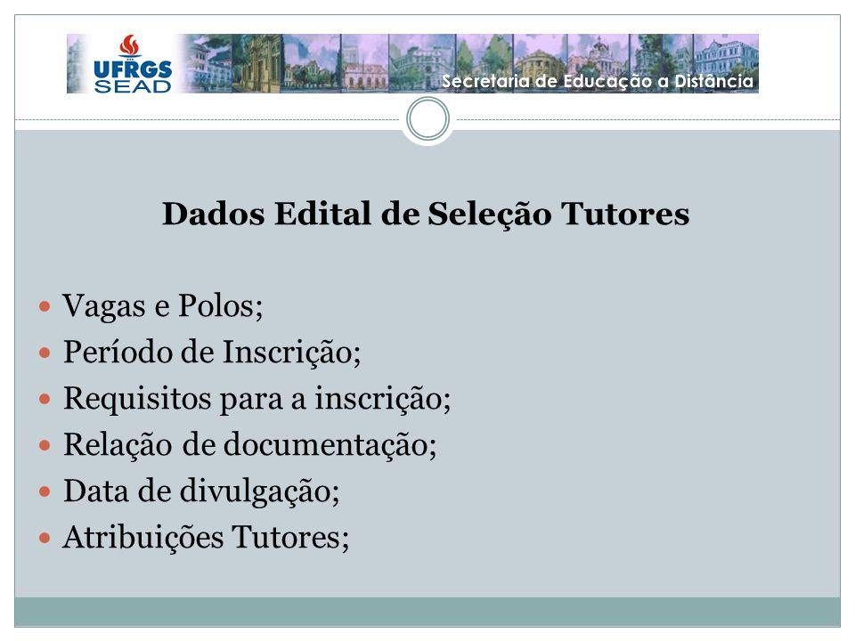 Dados Edital de Seleção Tutores Vagas e Polos; Período de Inscrição; Requisitos para a inscrição; Relação de documentação; Data de divulgação; Atribuições Tutores;