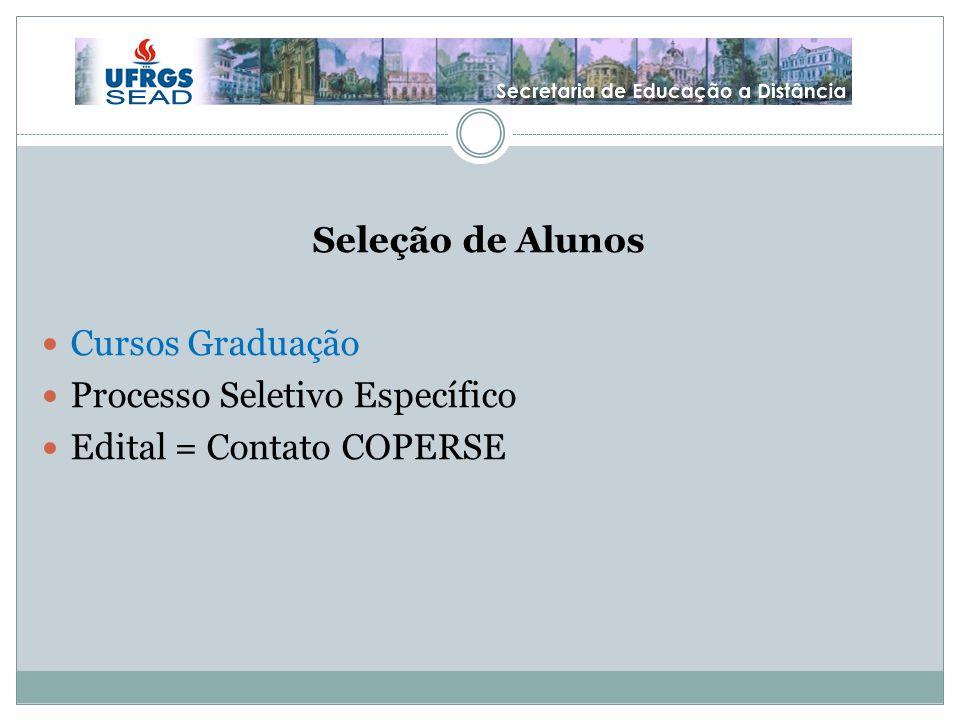 Seleção de Alunos Cursos Graduação Processo Seletivo Específico Edital = Contato COPERSE