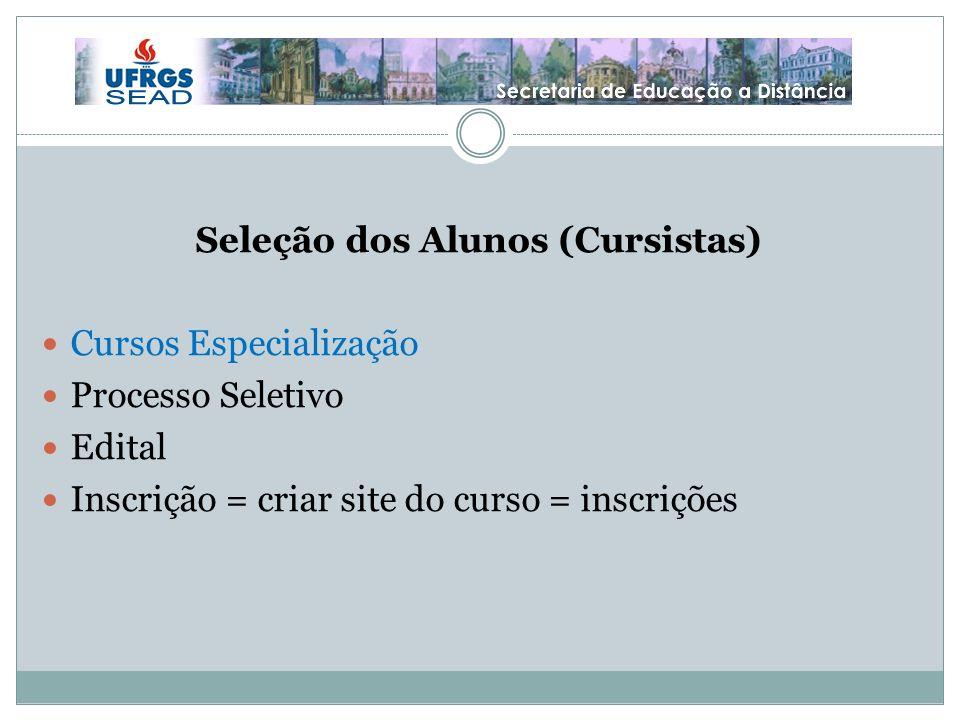 Seleção dos Alunos (Cursistas) Cursos Especialização Processo Seletivo Edital Inscrição = criar site do curso = inscrições