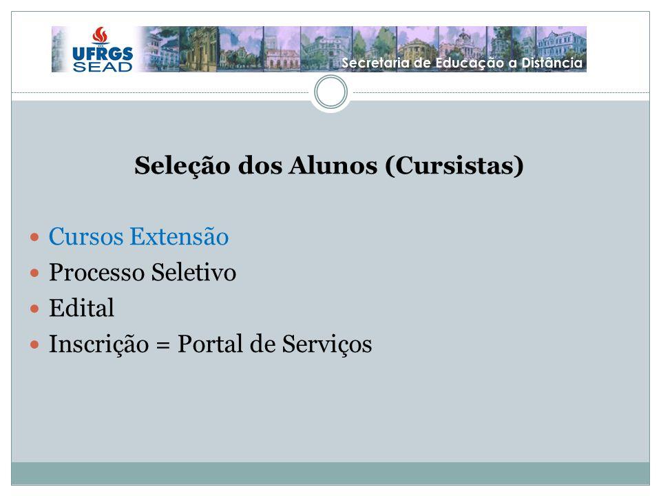Seleção dos Alunos (Cursistas) Cursos Extensão Processo Seletivo Edital Inscrição = Portal de Serviços