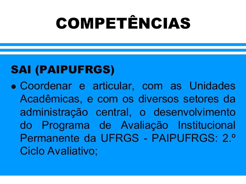 COMPETÊNCIAS SAI (PAIPUFRGS) Coordenar e articular, com as Unidades Acadêmicas, e com os diversos setores da administração central, o desenvolvimento