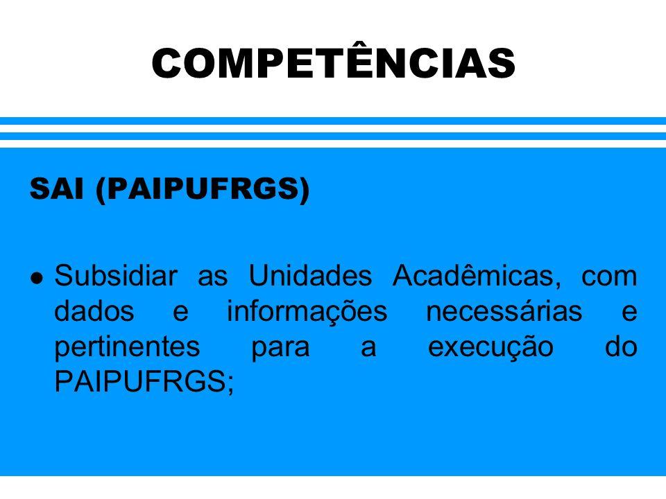 COMPETÊNCIAS SAI (PAIPUFRGS) l Organizar e desenvolver seminários e outros eventos que se fizerem necessários para ancorar o desenvolvimento das atividades do PAIPURGS;