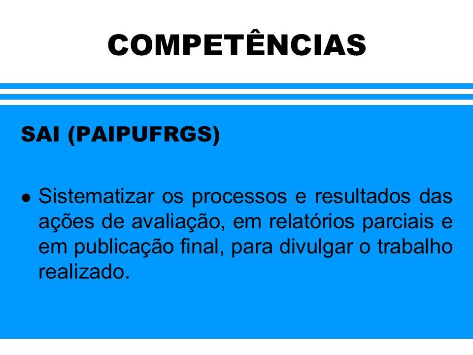 COMPETÊNCIAS NAUs (PAIPUFRGS) l Implantar o processo de avaliação das Unidades, segundo o Programa de Avaliação Institucional Permanente na UFRGS: 2º Ciclo Avaliativo, envolvendo a comunidade de alunos, professores e técnico- administrativos;