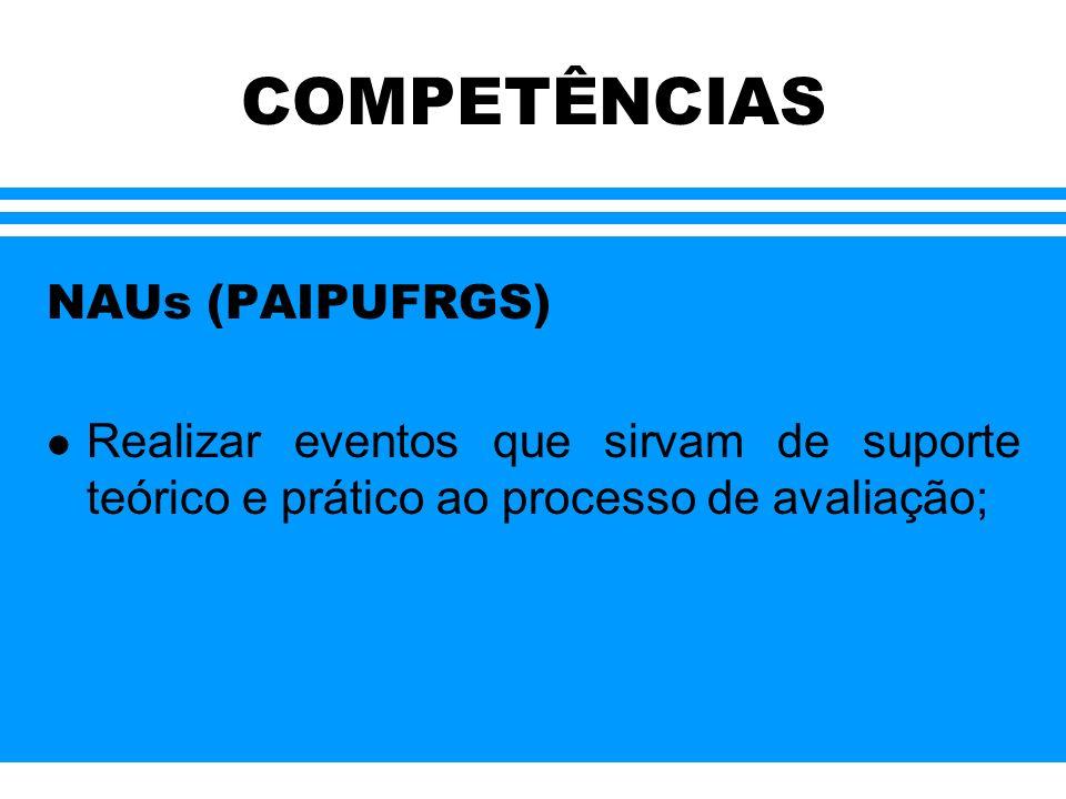COMPETÊNCIAS NAUs (PAIPUFRGS) l Realizar eventos que sirvam de suporte teórico e prático ao processo de avaliação;