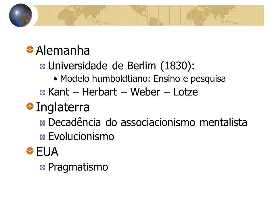 Alemanha Universidade de Berlim (1830): Modelo humboldtiano: Ensino e pesquisa Kant – Herbart – Weber – Lotze Inglaterra Decadência do associacionismo