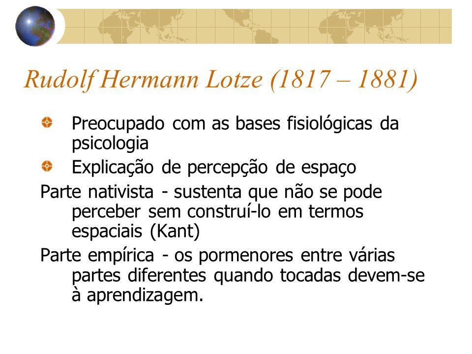 Rudolf Hermann Lotze (1817 – 1881) Preocupado com as bases fisiológicas da psicologia Explicação de percepção de espaço Parte nativista - sustenta que