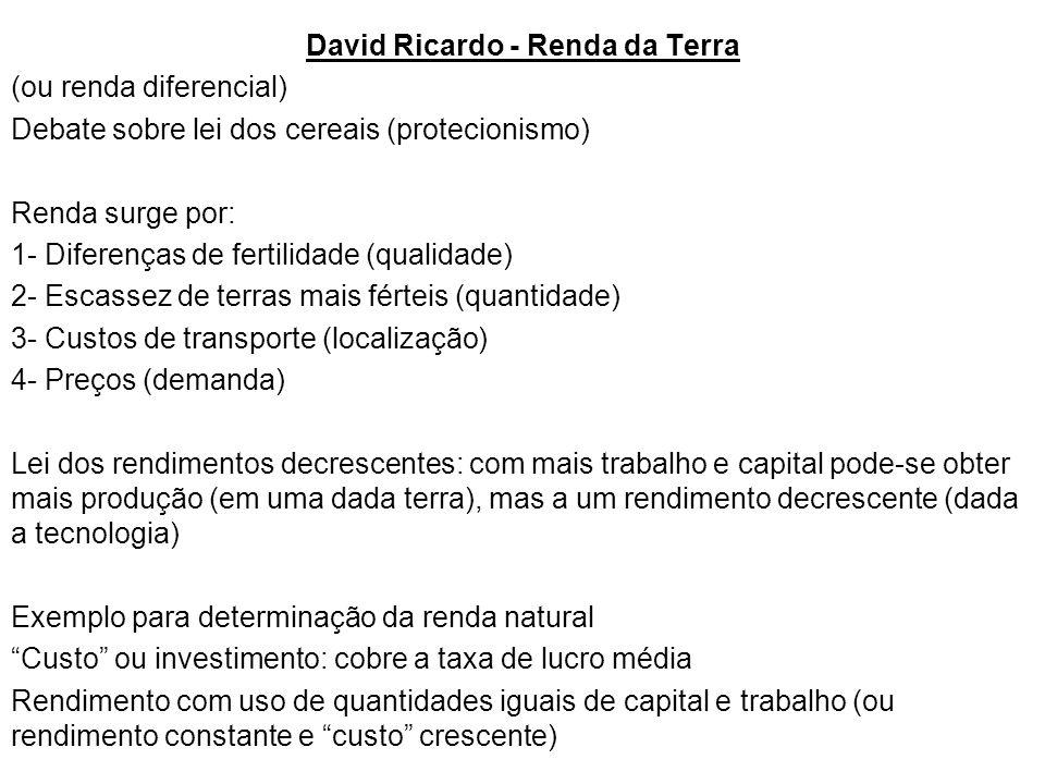 David Ricardo - Renda da Terra (ou renda diferencial) Debate sobre lei dos cereais (protecionismo) Renda surge por: 1- Diferenças de fertilidade (qualidade) 2- Escassez de terras mais férteis (quantidade) 3- Custos de transporte (localização) 4- Preços (demanda) Lei dos rendimentos decrescentes: com mais trabalho e capital pode-se obter mais produção (em uma dada terra), mas a um rendimento decrescente (dada a tecnologia) Exemplo para determinação da renda natural Custo ou investimento: cobre a taxa de lucro média Rendimento com uso de quantidades iguais de capital e trabalho (ou rendimento constante e custo crescente)