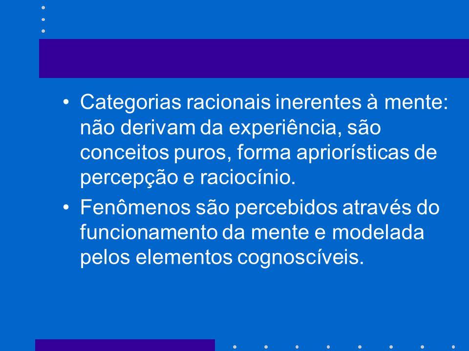 Categorias racionais inerentes à mente: não derivam da experiência, são conceitos puros, forma apriorísticas de percepção e raciocínio. Fenômenos são