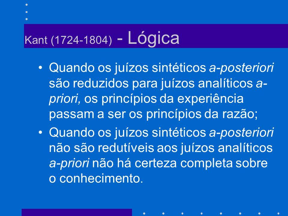 Kant (1724-1804) - Lógica Quando os juízos sintéticos a-posteriori são reduzidos para juízos analíticos a- priori, os princípios da experiência passam
