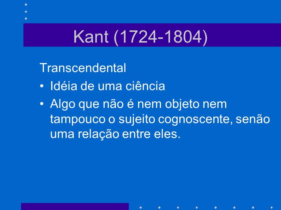 Kant (1724-1804) Transcendental Idéia de uma ciência Algo que não é nem objeto nem tampouco o sujeito cognoscente, senão uma relação entre eles.