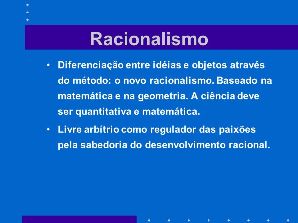Diferenciação entre idéias e objetos através do método: o novo racionalismo. Baseado na matemática e na geometria. A ciência deve ser quantitativa e m