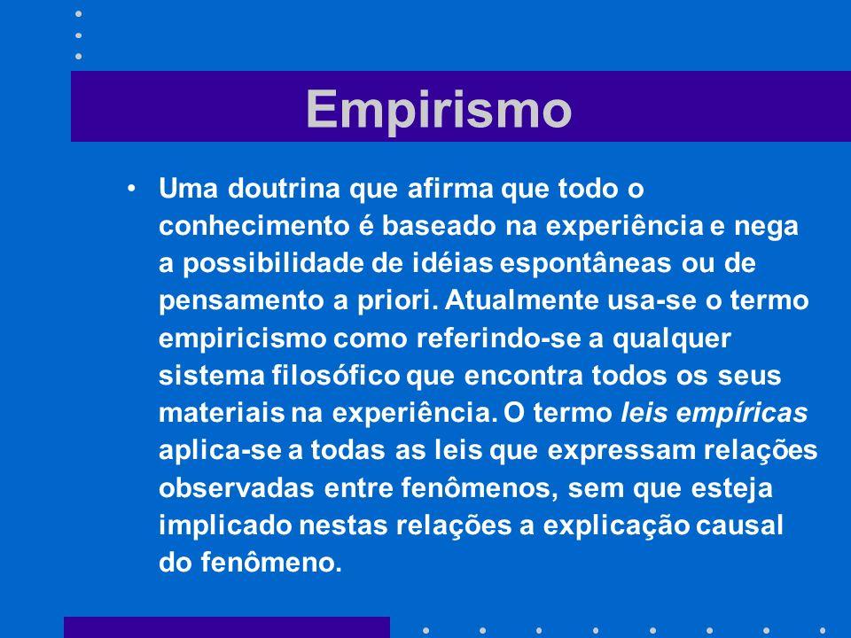 Empirismo Uma doutrina que afirma que todo o conhecimento é baseado na experiência e nega a possibilidade de idéias espontâneas ou de pensamento a pri