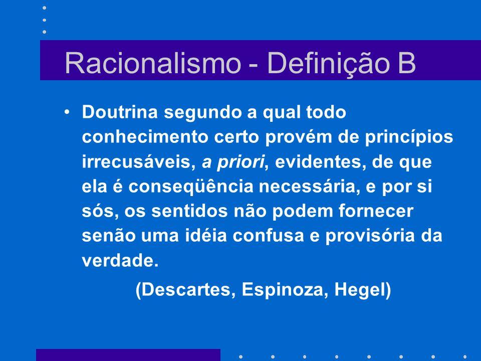 Racionalismo - Definição B Doutrina segundo a qual todo conhecimento certo provém de princípios irrecusáveis, a priori, evidentes, de que ela é conseq