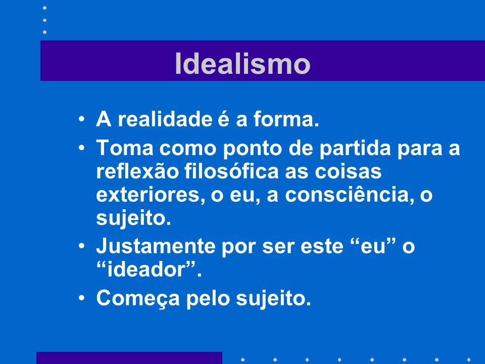 Idealismo A realidade é a forma. Toma como ponto de partida para a reflexão filosófica as coisas exteriores, o eu, a consciência, o sujeito. Justament