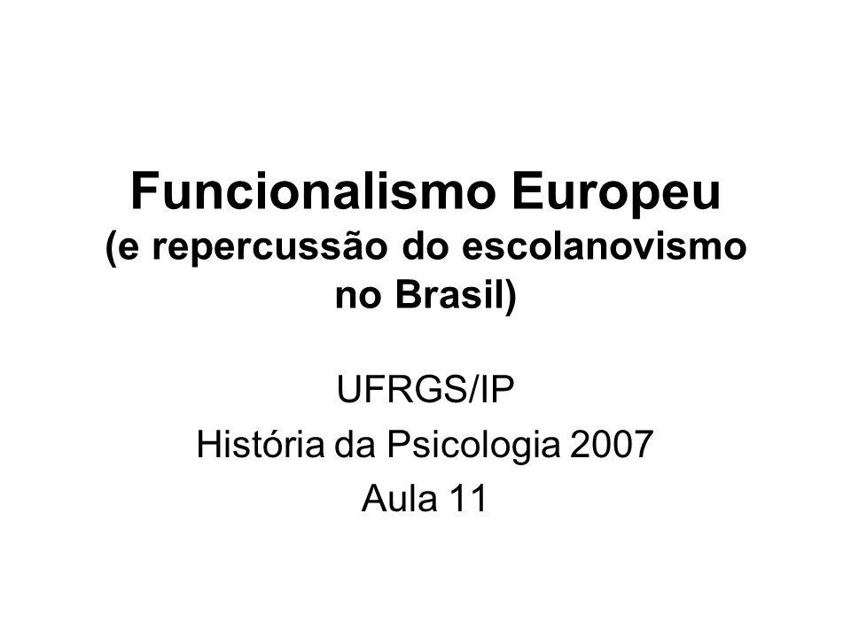 Aulas anteriores: –Aula 09 - Evolução e funcionalismo –Aula 10 - Funcionalismo norte-americano Nesta aula: –Etologia –Psicanálise freudiana –Psicossociologia –Teoria Psicogenética de Piaget