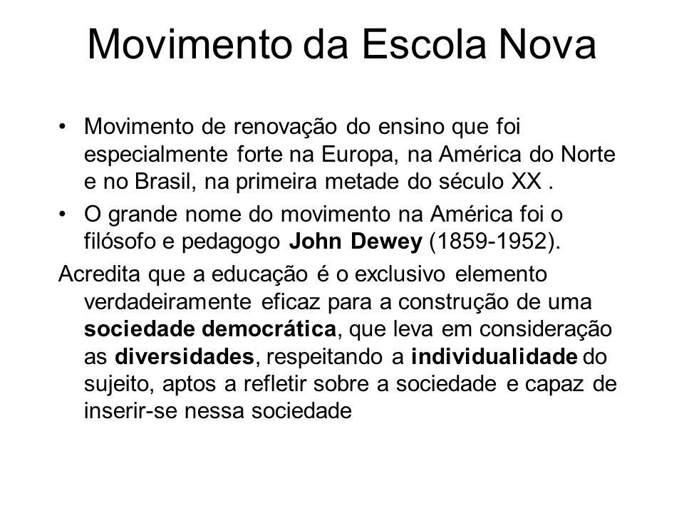 Movimento de renovação do ensino que foi especialmente forte na Europa, na América do Norte e no Brasil, na primeira metade do século XX. O grande nom