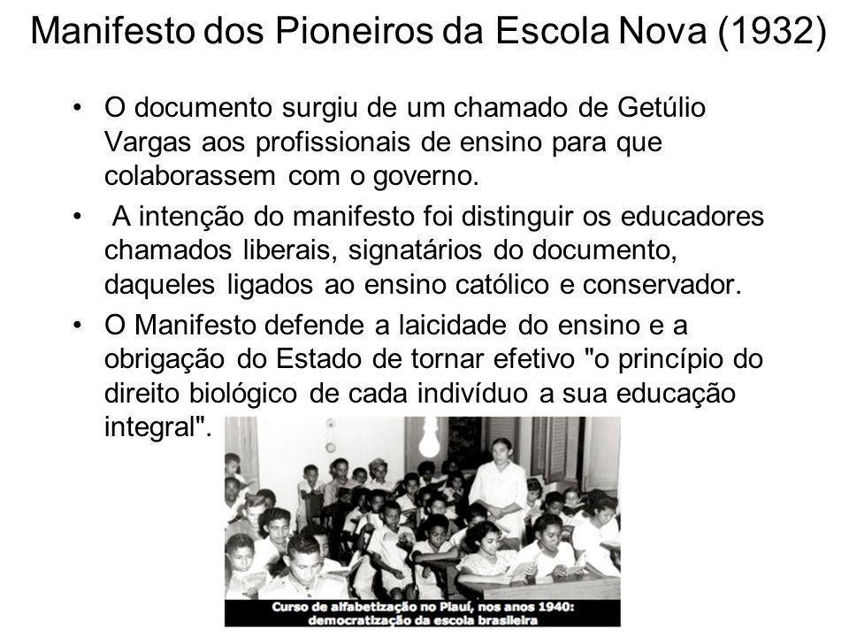 O documento surgiu de um chamado de Getúlio Vargas aos profissionais de ensino para que colaborassem com o governo. A intenção do manifesto foi distin