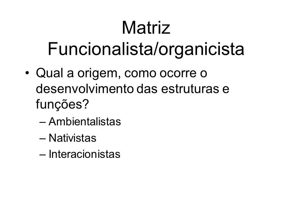 Matriz Funcionalista/organicista Qual a origem, como ocorre o desenvolvimento das estruturas e funções? –Ambientalistas –Nativistas –Interacionistas