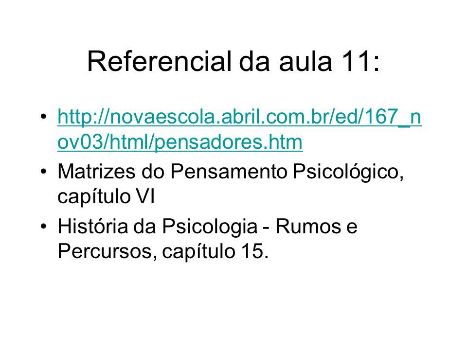 Referencial da aula 11: http://novaescola.abril.com.br/ed/167_n ov03/html/pensadores.htmhttp://novaescola.abril.com.br/ed/167_n ov03/html/pensadores.h