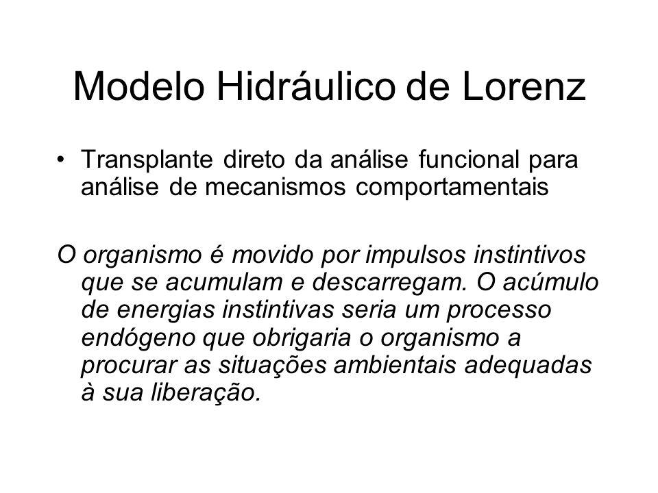 Modelo Hidráulico de Lorenz Transplante direto da análise funcional para análise de mecanismos comportamentais O organismo é movido por impulsos insti
